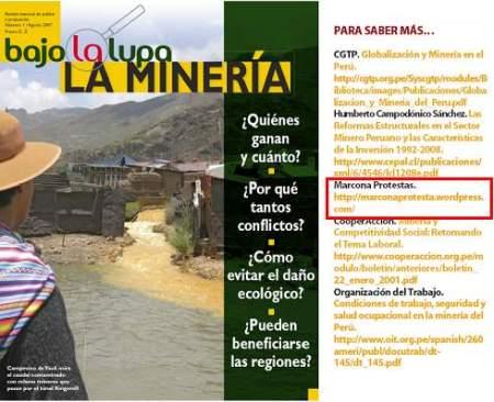 Revista Especializada Bajo la Lupa, y su mención a Marcona Protesta