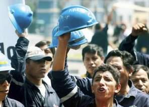 Jóvenes mineros subcontratados de Shougan