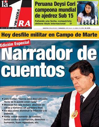 """Portada del Diario """"La Primera"""", 29 de julio del 2008"""