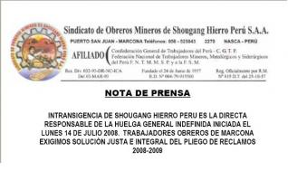 Nota de prensa de trabajadores mineros de Shougang