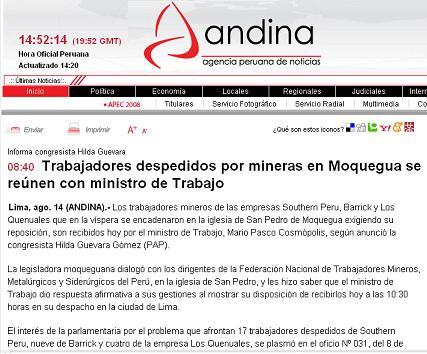 Agencia Andina, 14 de agosto del 2008