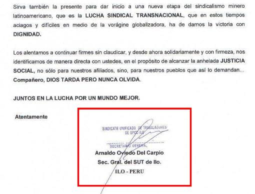 Firma del Sec. Gral. del SUT ILo, Arnaldo Oviedo Del Carpio.