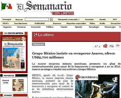 El Semanario de México, 28 de agosto del 2008