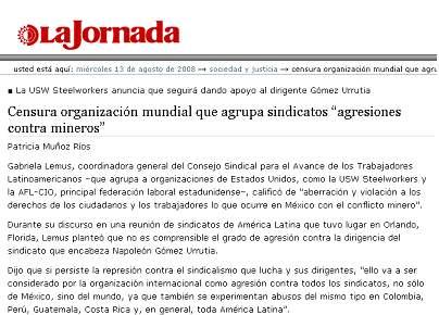 La Jornada de México, 13 de agosto del 2008