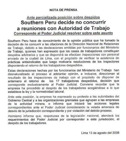 Pronunciamiento Público de Southern Peru, del 13 de agosto del 2008.