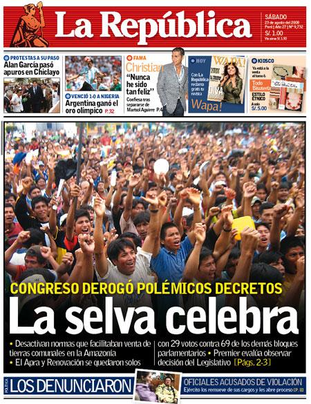 """Portada del diario """"La República"""" del 23 de agosto del 2008"""