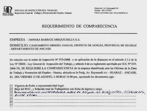 Requerimiento del MTPE a minera Barrick Misquichilca