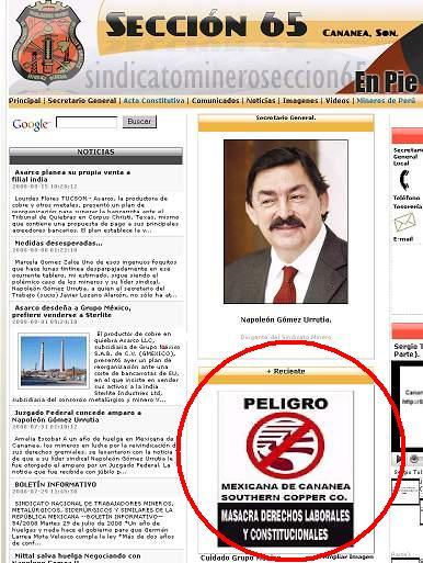 Portal web Sección 65 de Cananea en México. En huelga hace 1 año y 1 mes contra GRUPO MÉXICO.