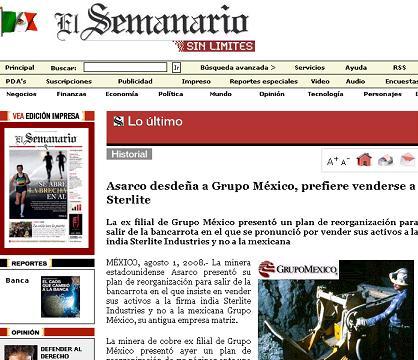 """El """"Semanario"""" de México, 1 de agosto del 2008"""