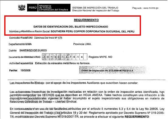 Resolución de Inspección Laboral realizada a SOUTHERN PERU