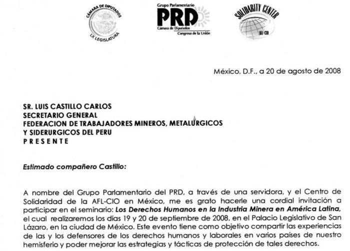 Carta de invitación a la FNTMMSP del PRD desde la Camara de Diputados Mexicana