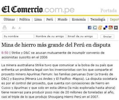 El Comercio. 2 de septiembre del 2008