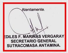Firma original del Sec. Gral. de ANTAMINA