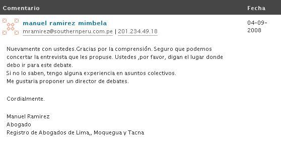 Solicitud de entrevista del Gerente de RR.LL. de Southern Peru