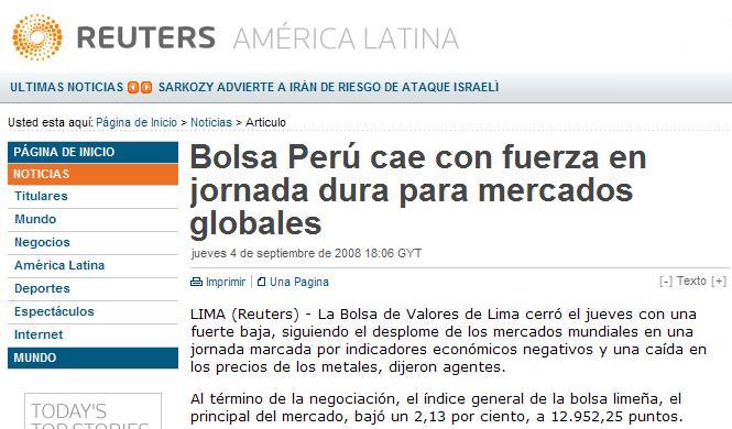 Agencia Reuters, 4 de septiembre 2008