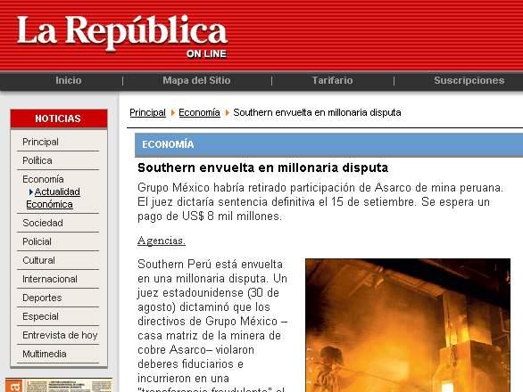 La República, 4 de septiembre del 2008
